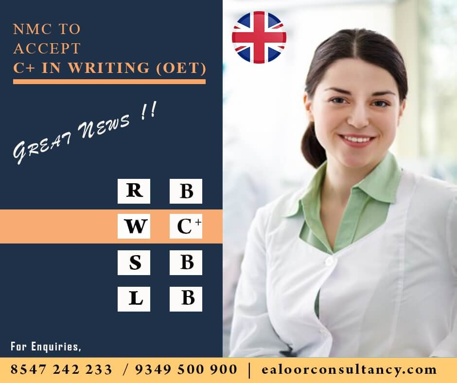 NMC to accept C+ in Writing for OET